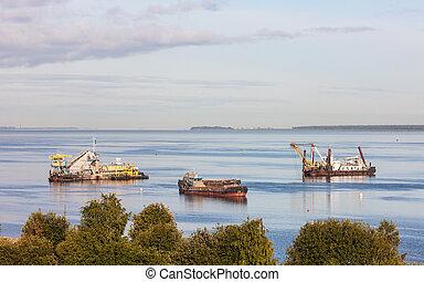 carga, construcción, barcos, equipo