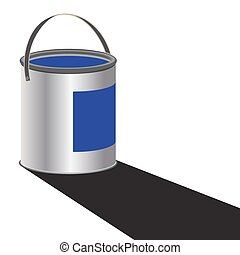 Paint Can Blue - A can of blue paint with a shadow isolated...