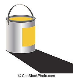 Paint Can Yellow - A can of yellow paint with a shadow...