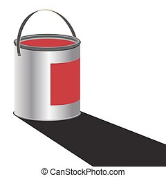Paint Can Red - A can of red paint with a shadow isolated on...
