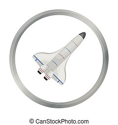 Space shuttle icon in cartoon style isolated on white background. Space symbol stock vector illustration.