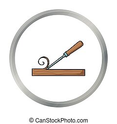 Chisel icon in cartoon style isolated on white background....