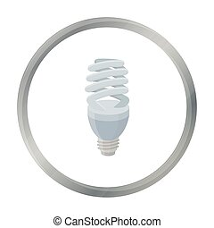Fluorescent lightbulb icon in cartoon style isolated on white background. Light source symbol stock vector illustration
