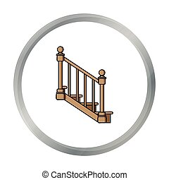 Stairs icon in cartoon style isolated on white background....