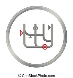 Pipes with valves icon in cartoon style isolated on white...