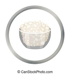 Cottage cheese in the bowl icon in cartoon style isolated on...