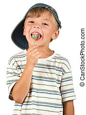 Boy with lollipop. Beautiful caucasian model. Isolated on...