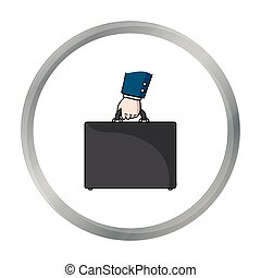 Briefcase icon in cartoon style isolated on white...