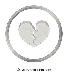 Heart icon in cartoon style isolated on white background....