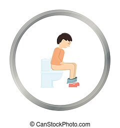 Diarrhea icon cartoon. Single sick icon from the big ill,...