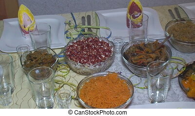 salads on the festive table - Served table with different...
