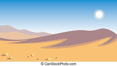 The hot desert. yellow sand dunes blue sky scorching sun