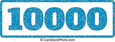 10000 Rubber Stamp - Blue rubber seal stamp with 10000 text....