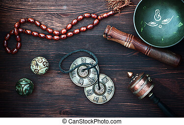 diverse ethnic objects for meditation and relaxation:...