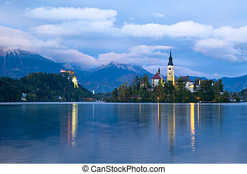 Church of Bled by night in Slovenia, Europe - View of famous...