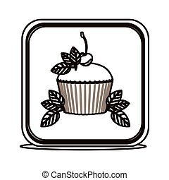silhouette square button with cupcake and leaves