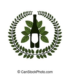 arch of leaves with bottle wine and goblet vector...