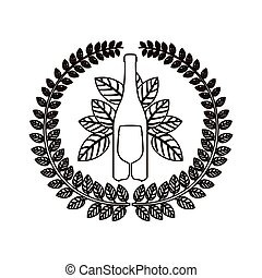 silhouette arch of leaves with bottle wine and goblet