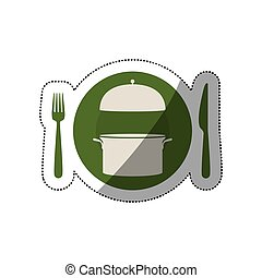sticker circular shape with cooking pot and cutlery