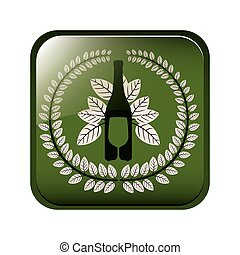 square button with crown of leaves with bottle wine and cutlery