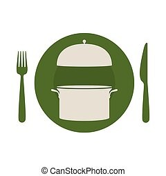 circular shape with cooking pot and cutlery