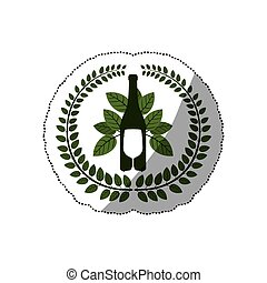 sticker arch of leaves with bottle wine and goblet vector...