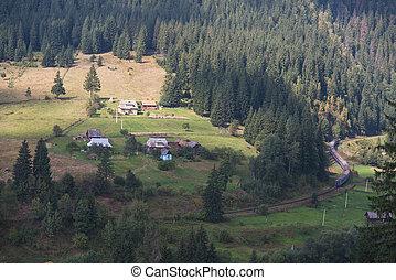 Landscape. Carpathians. The village of Vorokhta.
