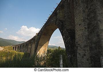 The ancient bridge. Carpathians. The village of Vorokhta.