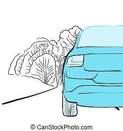 Auto Ausschnitt auf glatter Straße, Illustration