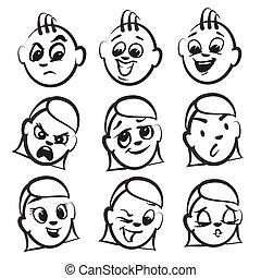 Strichmännchen Serie Emotionen - neun Gesichter