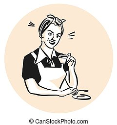 Frau mit Kaffeetasse, trinkend - historisches Logo
