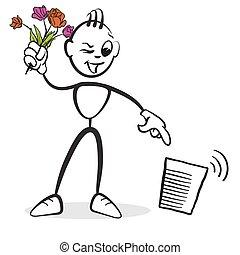Strichmännchen Serie Emotionen - Blumen wegwerfen