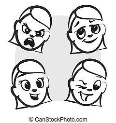 Strichmännchen Serie Emotionen - vier Gesichter