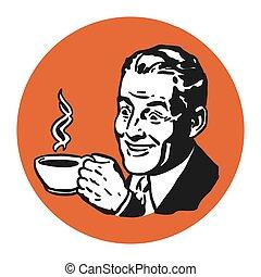 Mann mit Kaffeetasse, Historisches Logo