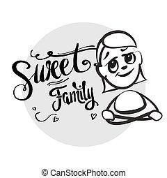 Strichmännchen Serie Emotionen - Süße Familie