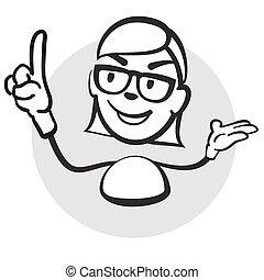 Strichmännchen Serie Emotionen - Frau zeigefinger