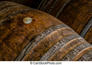 Barrels - Wine aging in barrels at a Carlsbad, California...