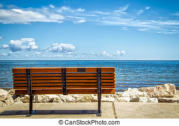 Green Bay - A park bench overlooking Green Bay from Bay...