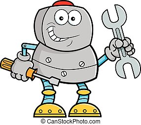 Cartoon illustration of a robot holding tools.