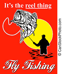fisherman catching largemouth bass with fly reel with text wording