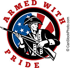 American revolutionary soldier with rifle flag - graphic...