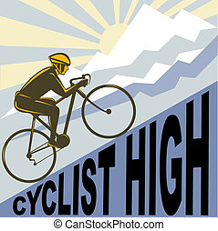 Cyclist racing bike up steep mountain and clouds sunburst -...