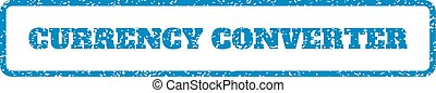 Currency Converter Rubber Stamp - Blue rubber seal stamp...