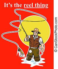 mouche, pêcheur, coulage, bobine, Peche, leurre,...