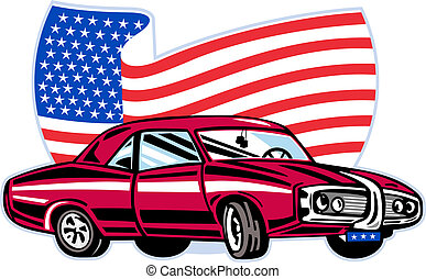American pontiac muscle car with stars and stripes flag...