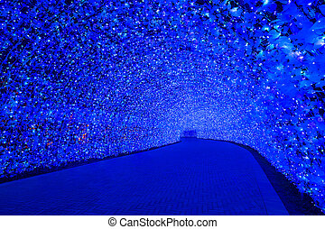 Nabana no Sato garden at night Nagoya. - Nagoya, Japan....
