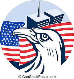 American eagle flag and twin tower building set inside...