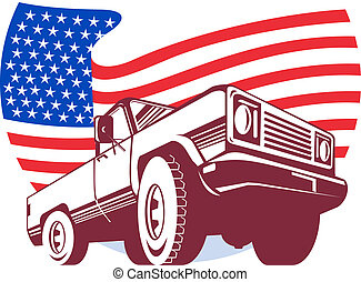 American Pickup truck with stars and stripes flag isolated on white viewed from  low angle