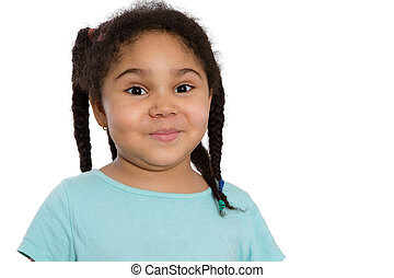 Cute little African American girl with her curly hair in...