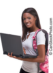 African American College student with laptop PC - education...